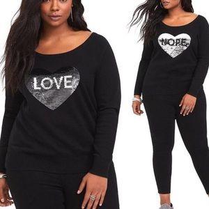 Torrid Reversible Sequined LOVE/NOPE Heart Sweater
